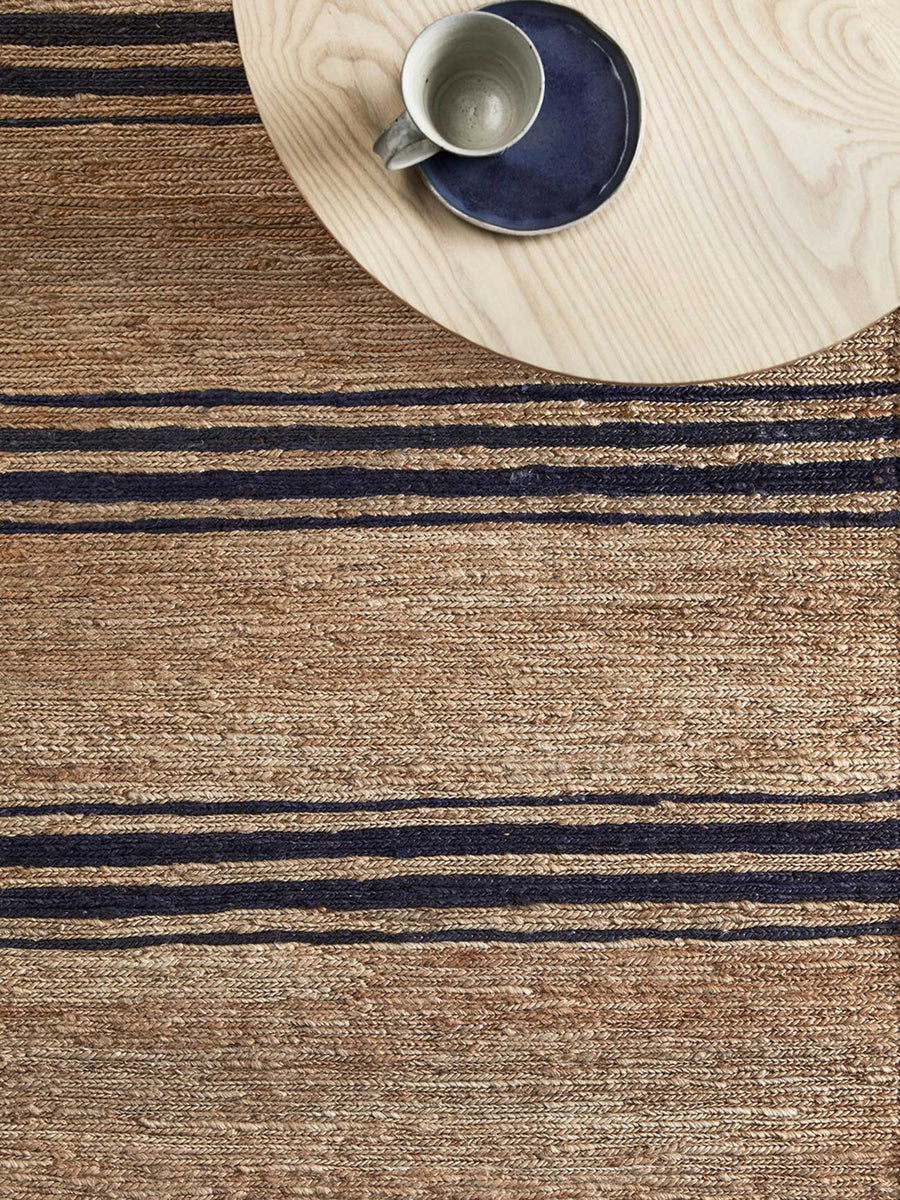 River Indigo Ticking Stripe Rug