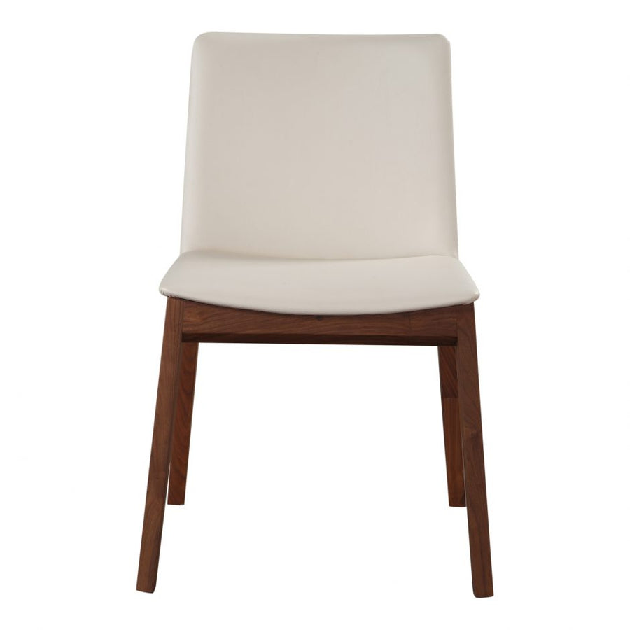 Deco Walnut Dining Chair - White Vinyl