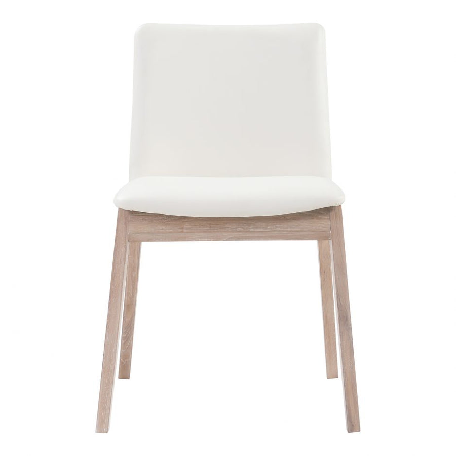 Deco Oak Dining Chair - White Vinyl