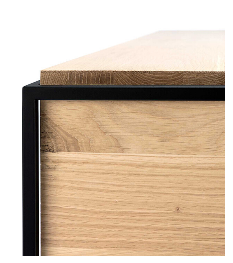 Monolit Nightstand - Oak with Black
