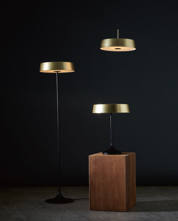 DJ LED Pendant - Matte Brass & Black