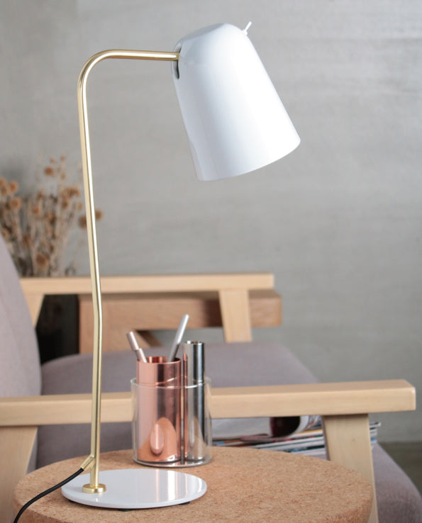 Dobi Table Lamp - White / Matte Brass