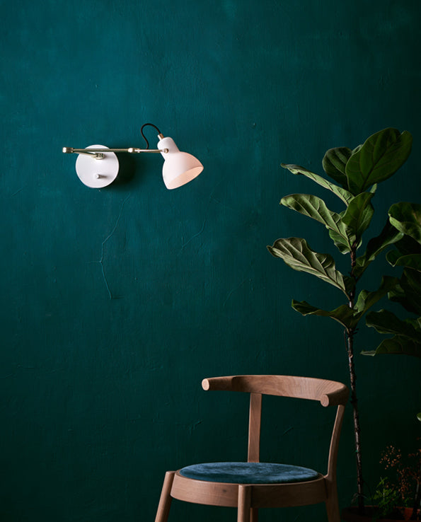 Laito Mini Wall Arm Lamp - White / Matte Brass
