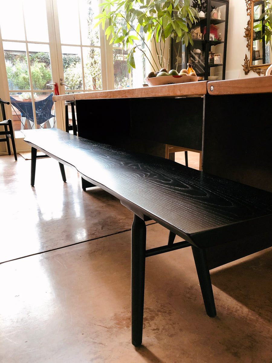 Mars Live Edge Bench - Black Ash