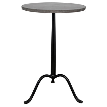 Cosmopolitan Side Table - Black Metal with Marble
