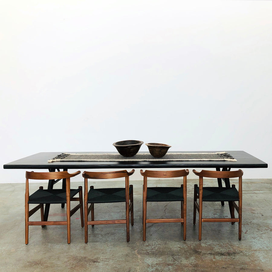 Mars Live Edge Dining Table - Black Ash with Wood Legs