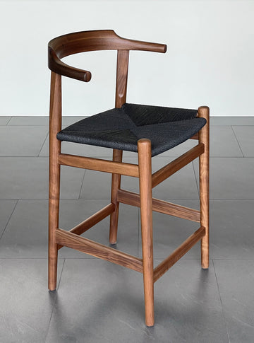 Thor Counter Stool - Walnut with Black Seat