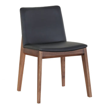 Deco Walnut Dining Chair - Black Vinyl