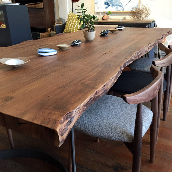 Leviathan Live Edge Dining Table With Solid Acacia Table Top And Curved Iron Legs