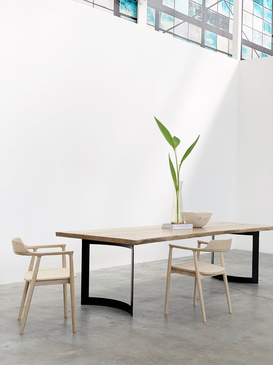 Mars Live Edge Dining Table - White Ash with Curved Metal Legs