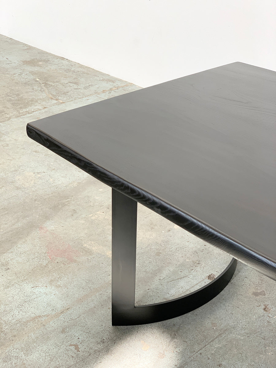 Mars Live Edge Dining Table - Black Ash with Curved Metal Leg