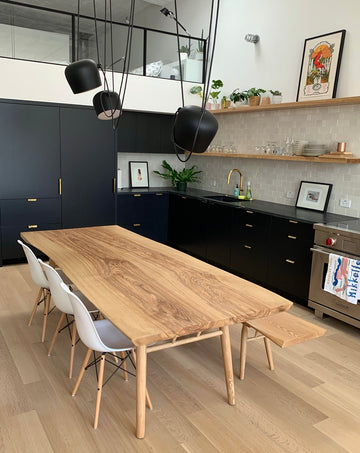 Mars Live Edge Dining Table - Ash with Wood Legs