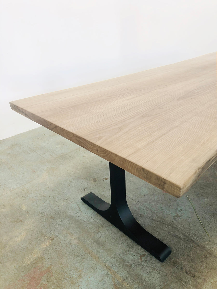 Mars Live Edge Dining Table - White Ash with Metal T Legs