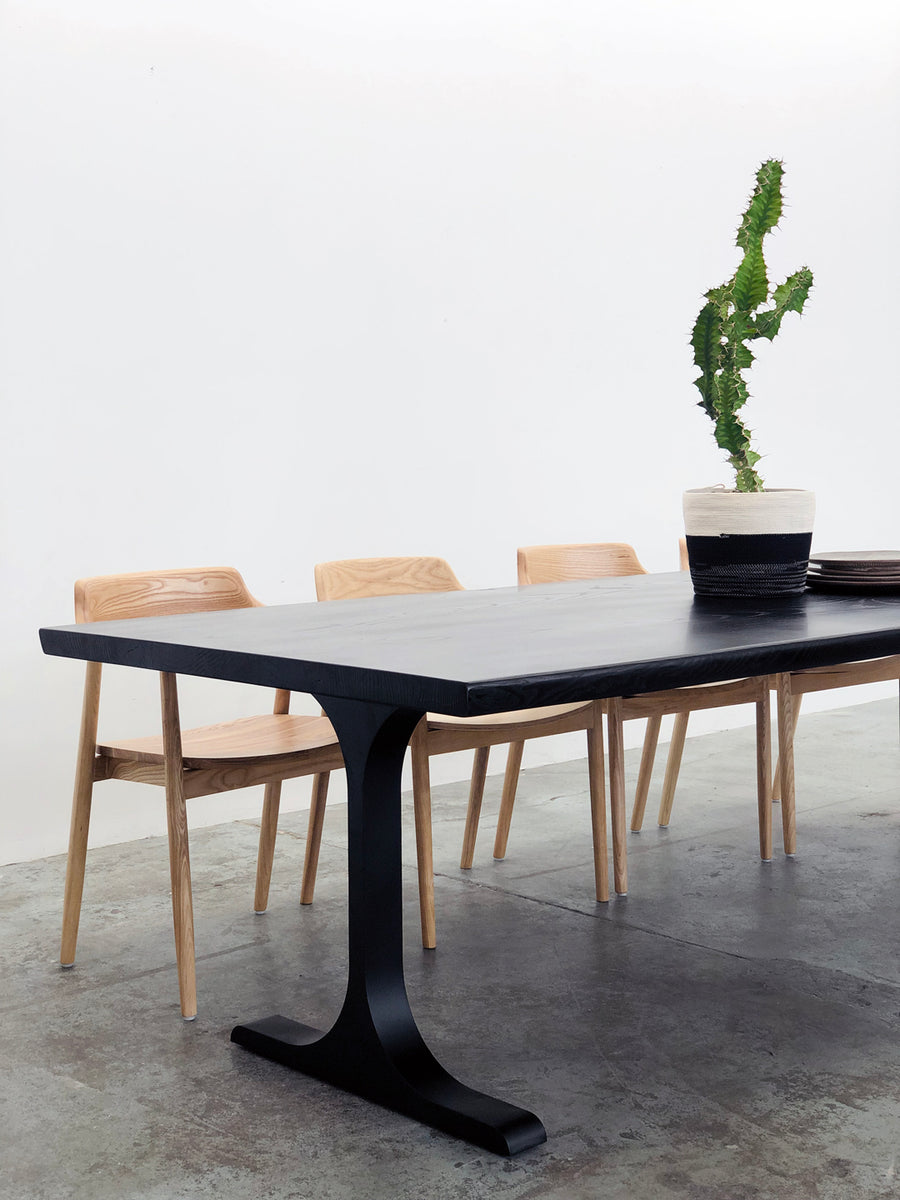 Mars Live Edge Dining Table - Black Ash with T Leg