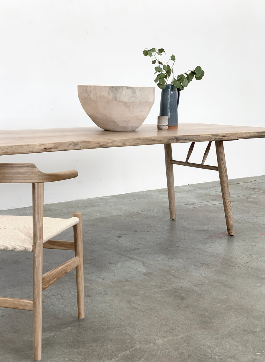 Mars Live Edge Dining Table - White Ash with Wood Legs