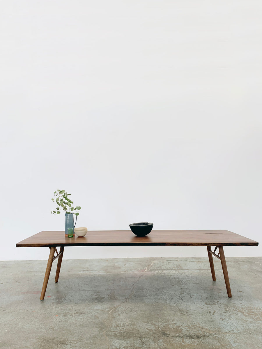 Mars Live Edge Dining Table - Walnut with Wood Legs