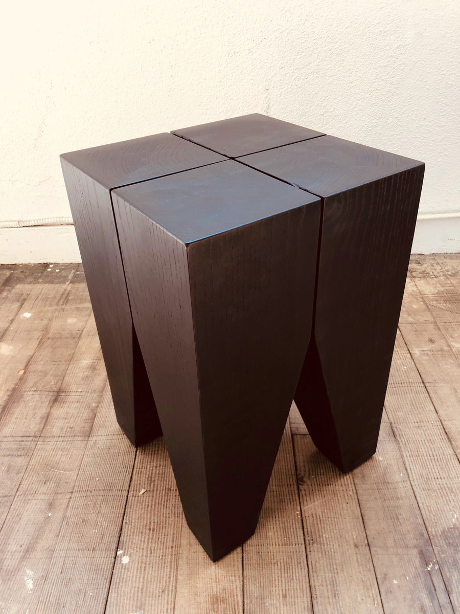 Mars Angled Stump Side Table - Black Ash