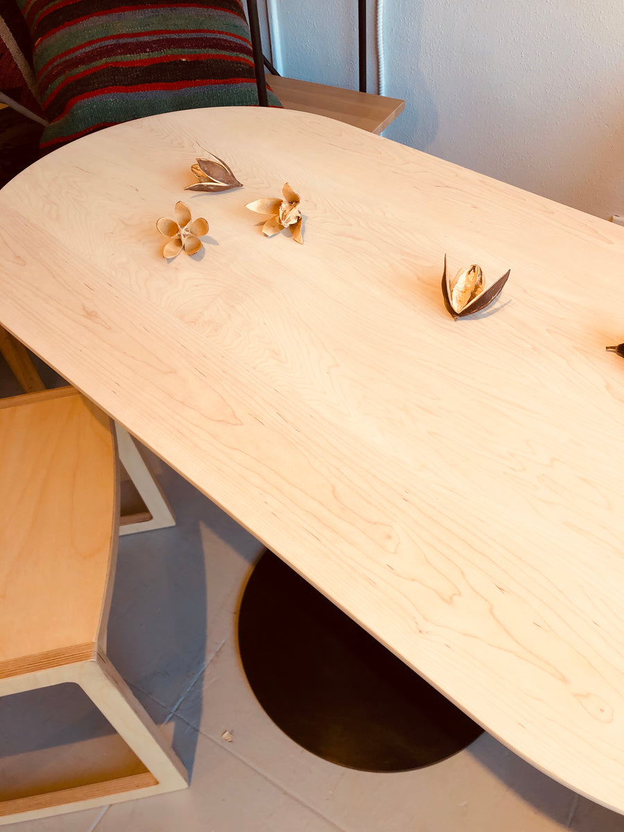 Disco Pill Shape Dining Table - Bleached Maple