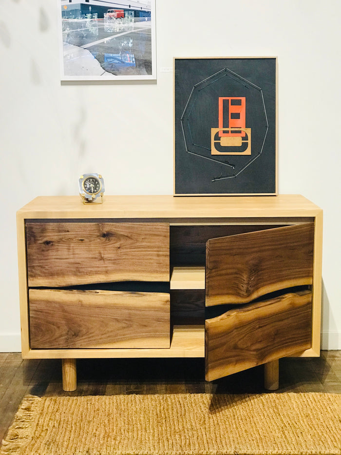 Jupiter Live Edge Cabinet - Ash with Walnut Doors