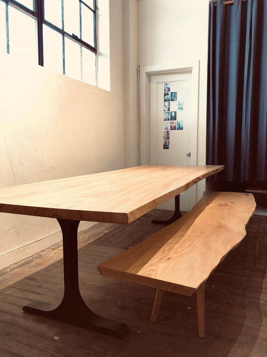 Mars Live Edge Dining Table - Ash with Metal T Legs