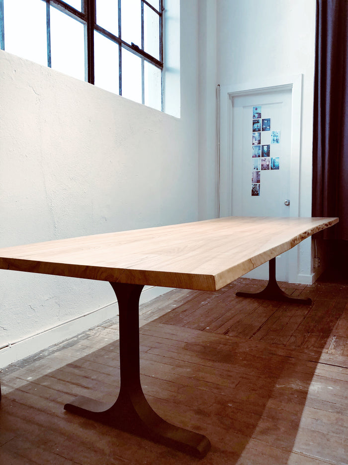 Mars Live Edge Dining Table with Metal T Legs - Ash