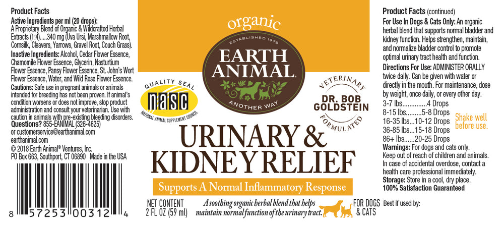 Urinary & Kidney Relief Organic Herbal Remedy