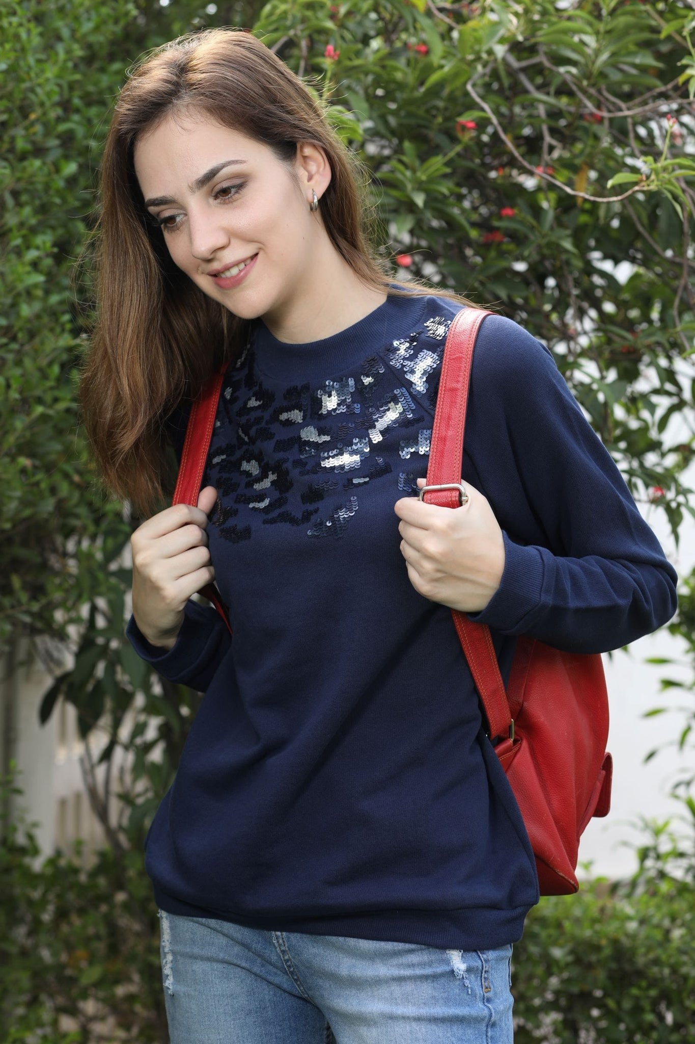 Navy Leopard Sequin Sweatshirt