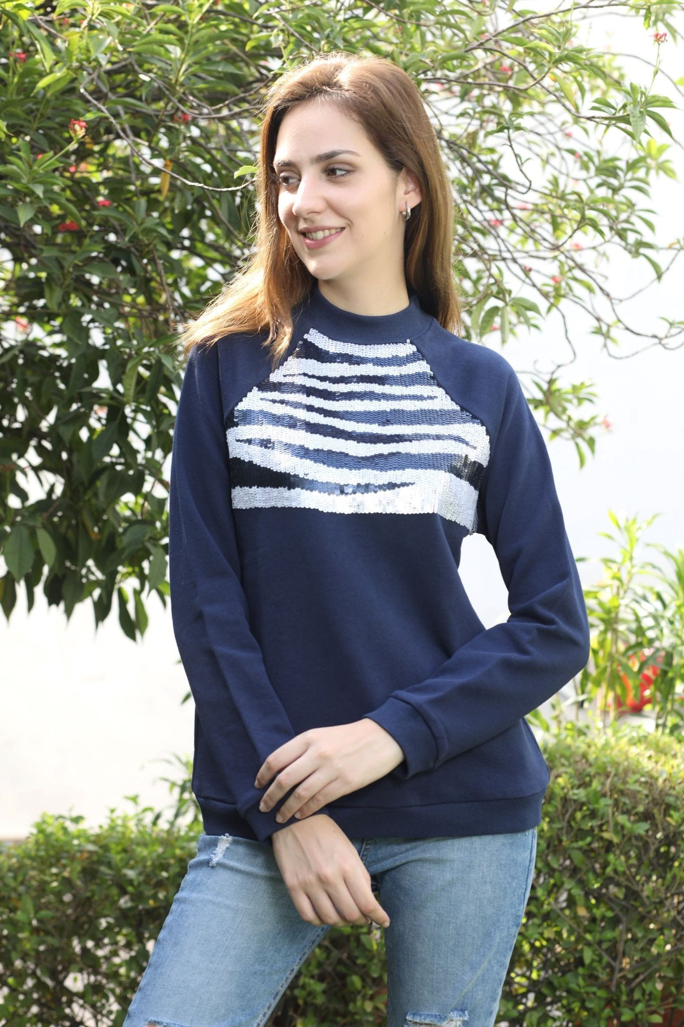 Navy Zebra Beaded Sweatshirt