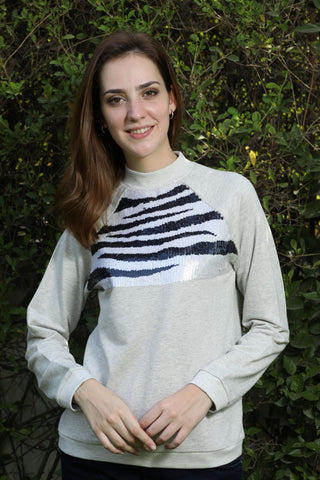 Grey Zebra Beaded Sweatshirt