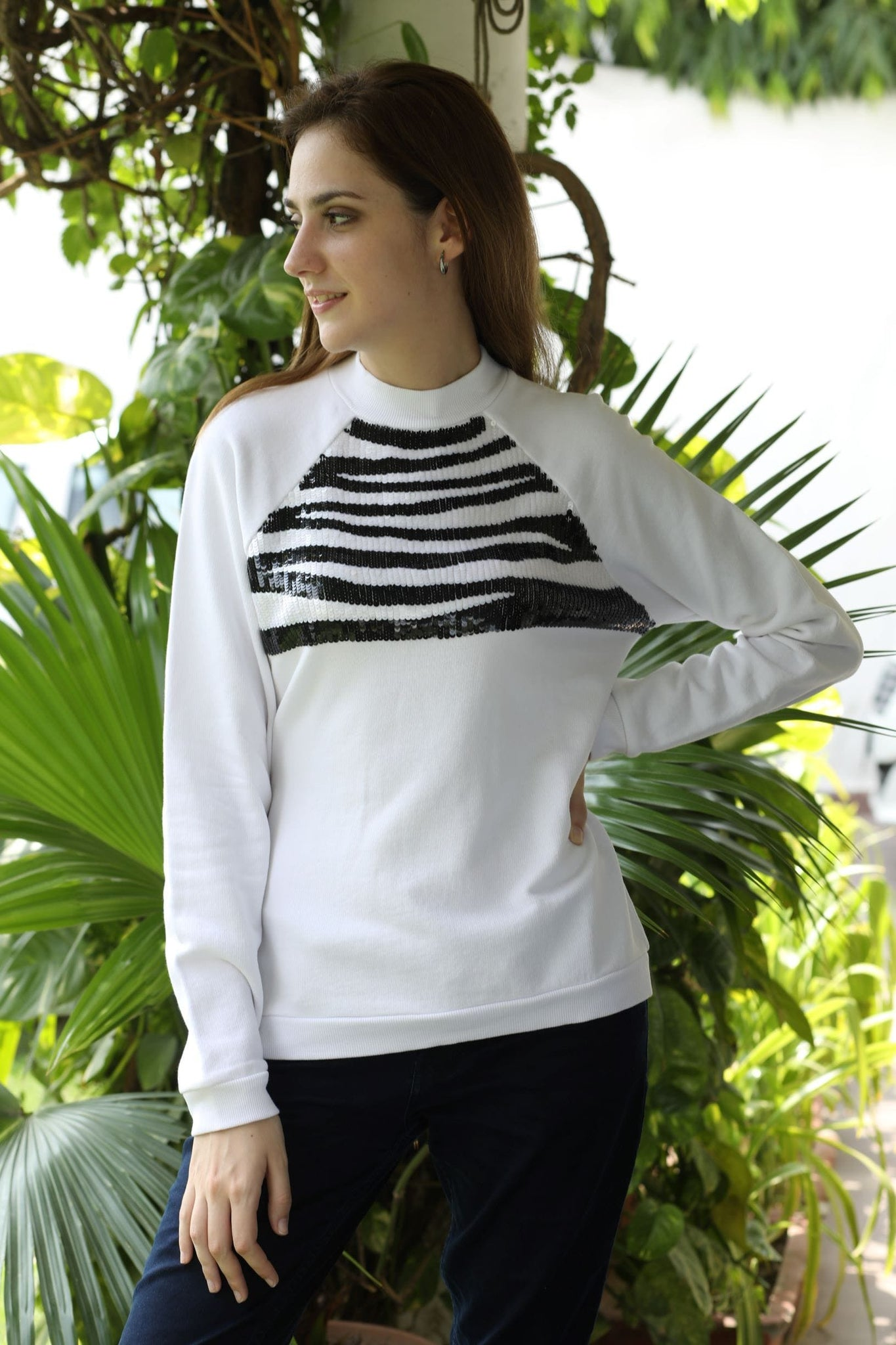 White Zebra Beaded Sweatshirt