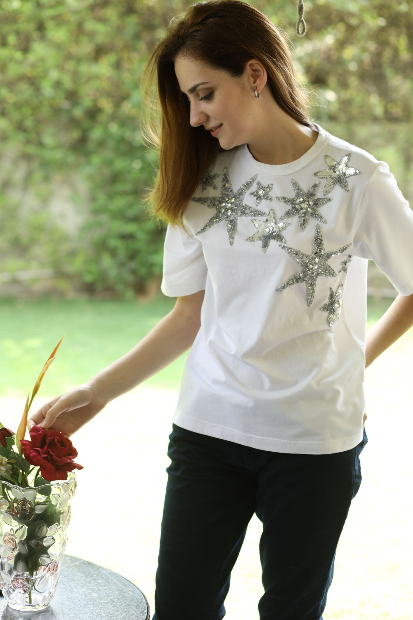 White Star Beaded Top