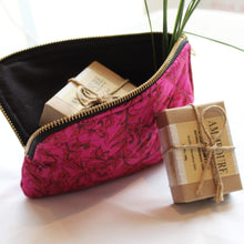 Load image into Gallery viewer, 2 Soaps + Premium Recycled Silk Cosmetic Bag  (One-Off Print)