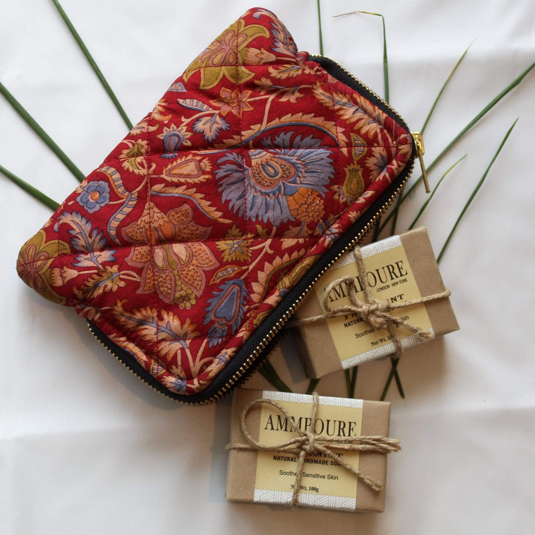 2 Soaps + Premium Recycled Silk Cosmetic Bag  (One-Off Print)