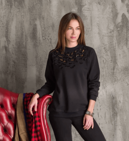 Black Leopard Beaded Sweatshirt
