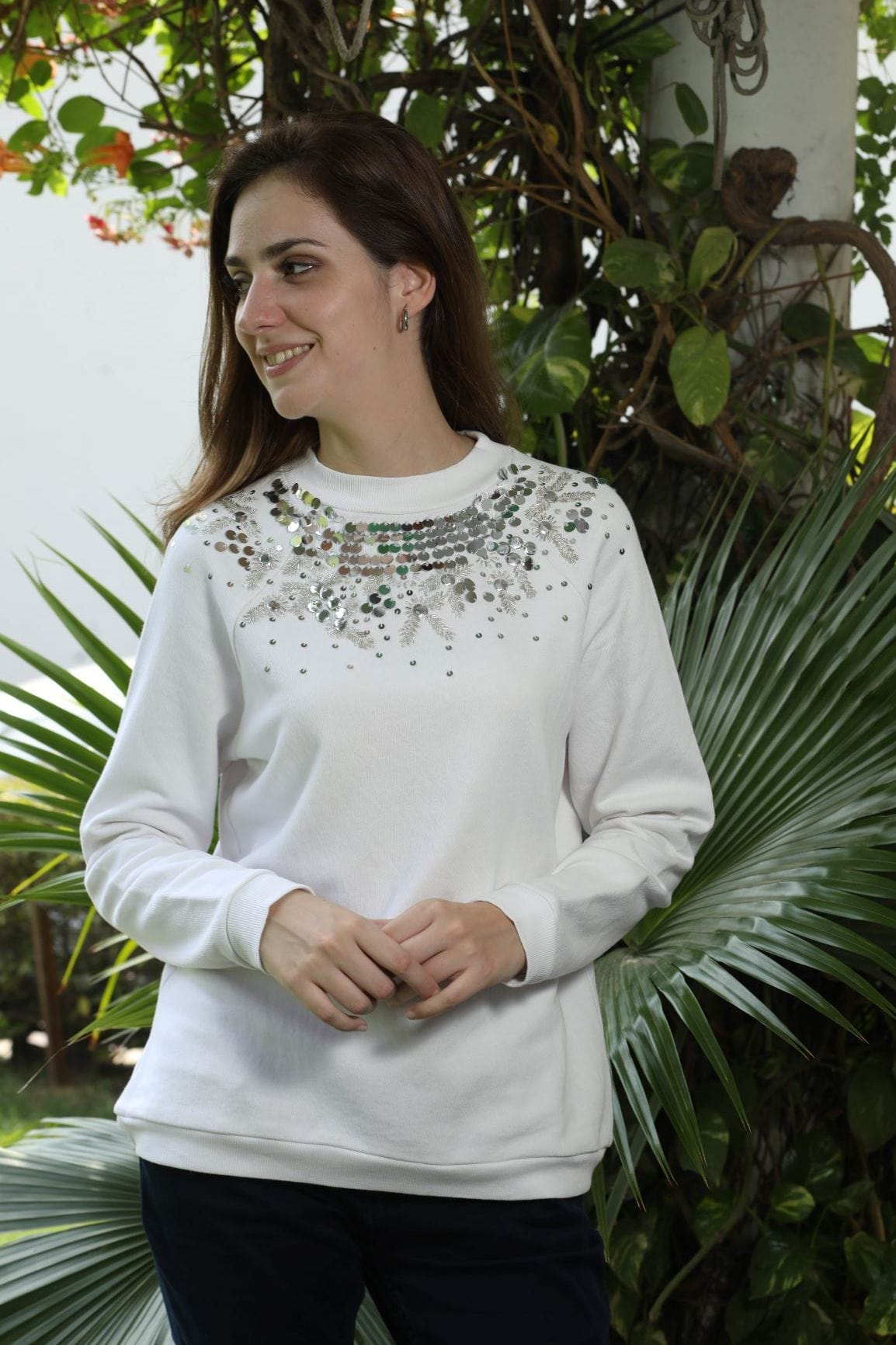 White Beaded Sweatshirt