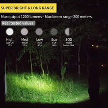 Load image into Gallery viewer, Rechargeable Led Flashlight 1200 Lumen USB Charging, 18650 Battery, Waterproof