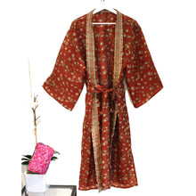 Load image into Gallery viewer, Recycled Silk Maxi Kimono + Premium Recycled Sari Silk Cosmetic Bag