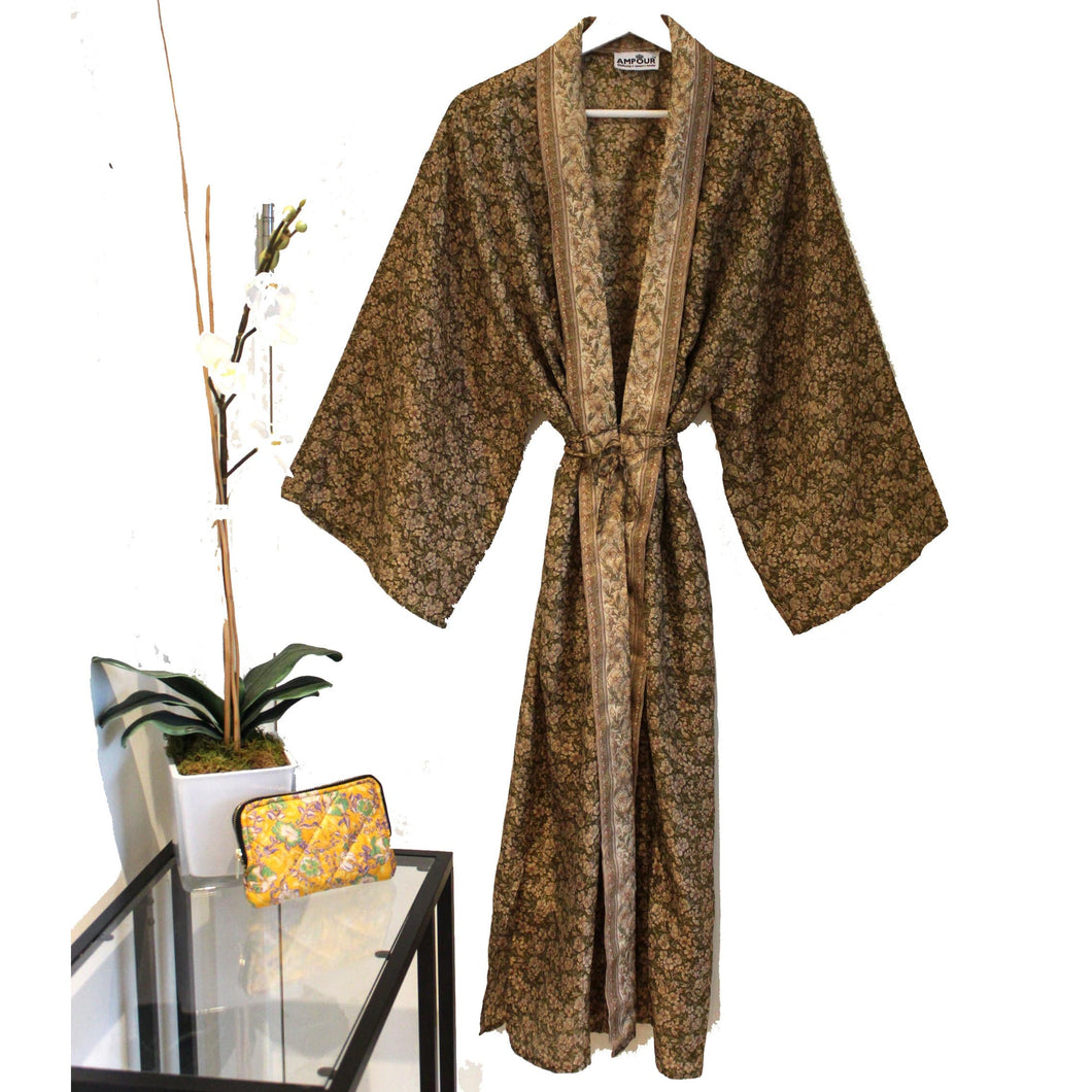 Recycled Silk Maxi Kimono + Premium Recycled Sari Silk Cosmetic Bag