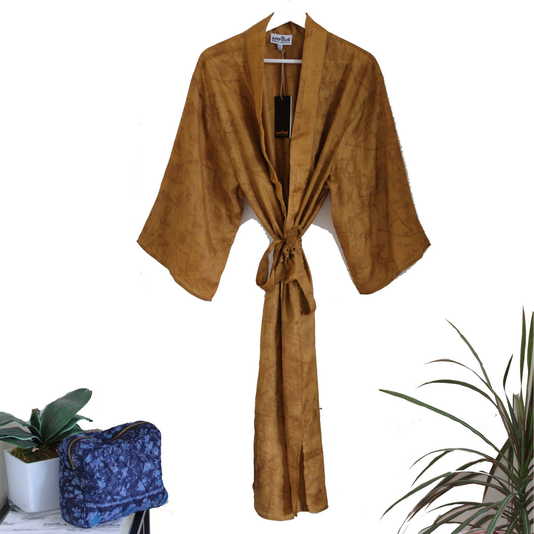 Recycled Silk Maxi Kimono + Premium Recycled Sari Silk WashBag