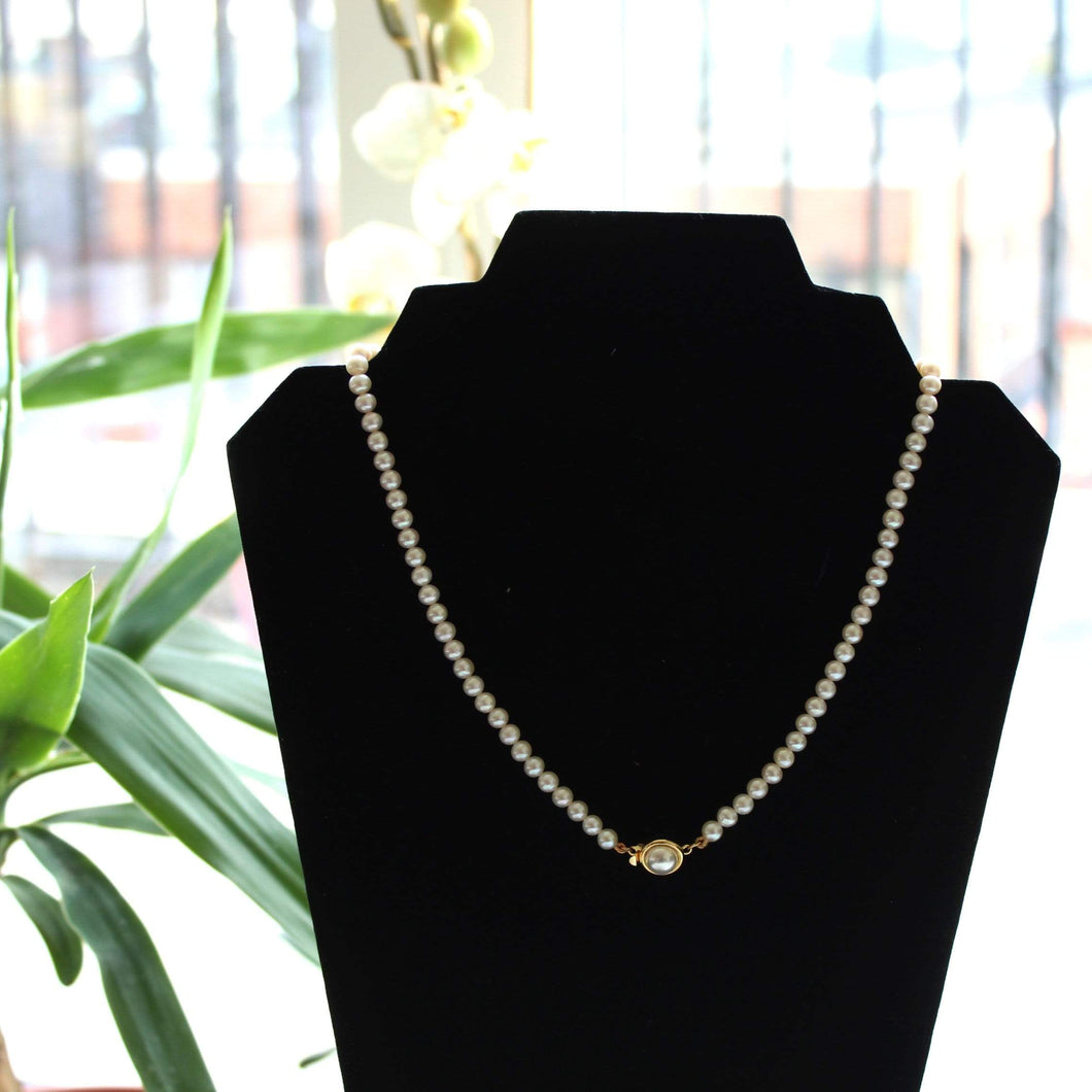 6mm Natural Fresh Water Cultured Pearl Necklace (Single Strand)