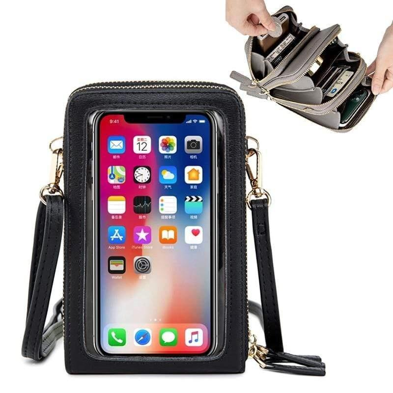 Mini Phone Case Crossbody Shoulder Purse Bags Screen Touchable, Multi-functional