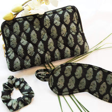 Load image into Gallery viewer, Premium Recycled Silk Make-up Bag  (One-Off Print) + Scrunchie + Sleep Mask