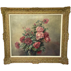 "Impressionist 19th Century French School Oil Painting ""A Bowl Of Red & Pink Roses"""