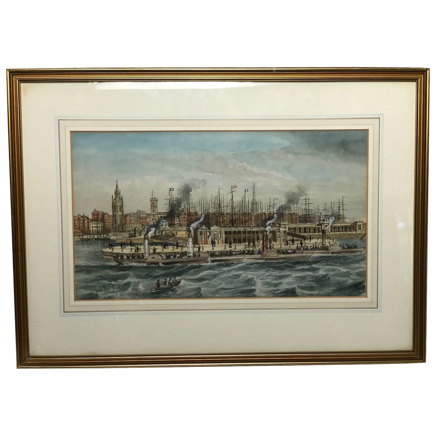 Victorian 19th Century Watercolour Liverpool Paddle Ferry Ships Mersey McGahey
