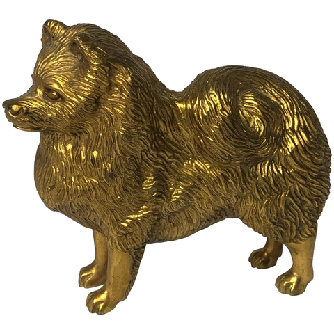 Original Art Deco Gilt Bronze Spitz Dog Animal Car Mascot Signed A G Ward