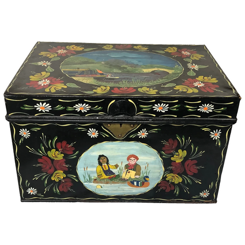 Vintage Classic Rosie & Jim Hand Painted Metal Canal Boat Chest Trunk Coffee Table