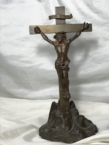 Original Antique 19th Century French Bronze Religious Crucifix Cross Jesus INRI Statue
