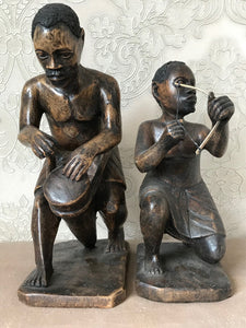 Pair Small Vintage Fibreglass Tribal Men Dancing African Ethnographic Statue Warriors