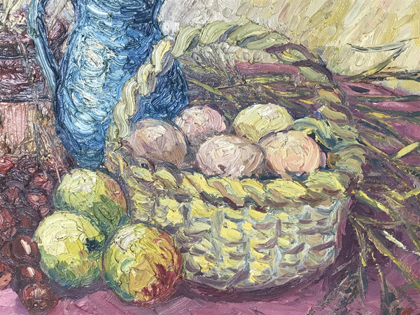 Fine lmpressionism Oil Painting Still Life Jug Basket Fruit After Samuel Heller