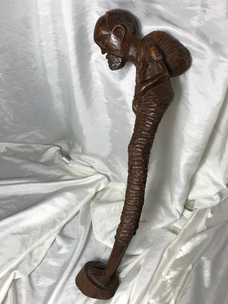 Fine Carved Tribal African Hunchback Man Ethnographic Hardwood Sculpture Statue